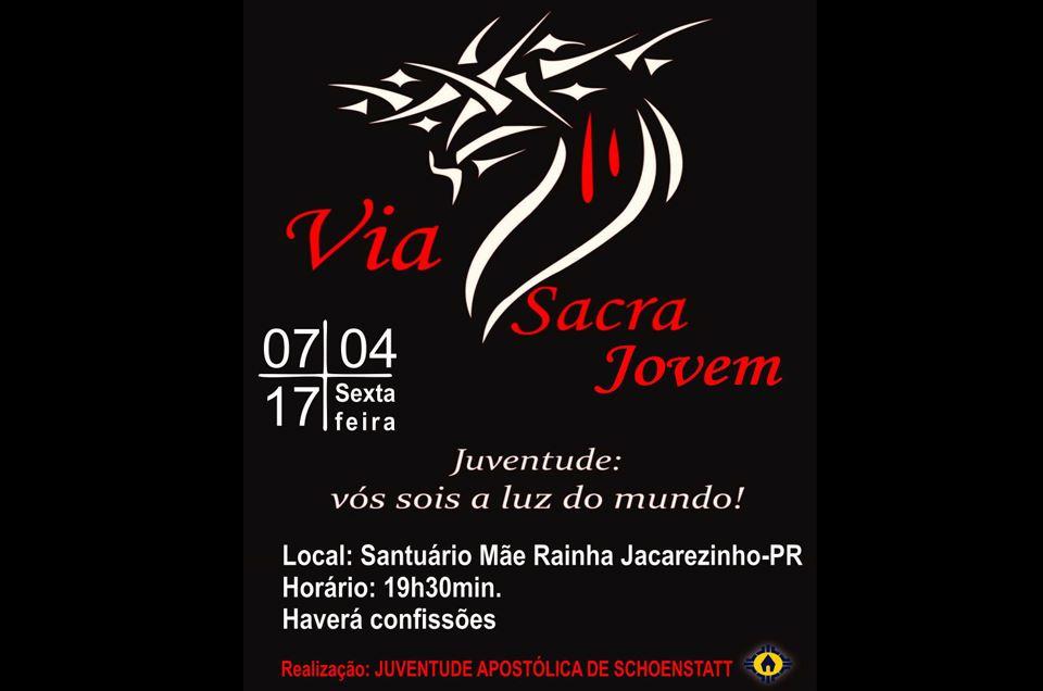 """""""Via Sacra Jovem"""" no Santuário da Mãe Rainha de Jacarezinho-Pr"""