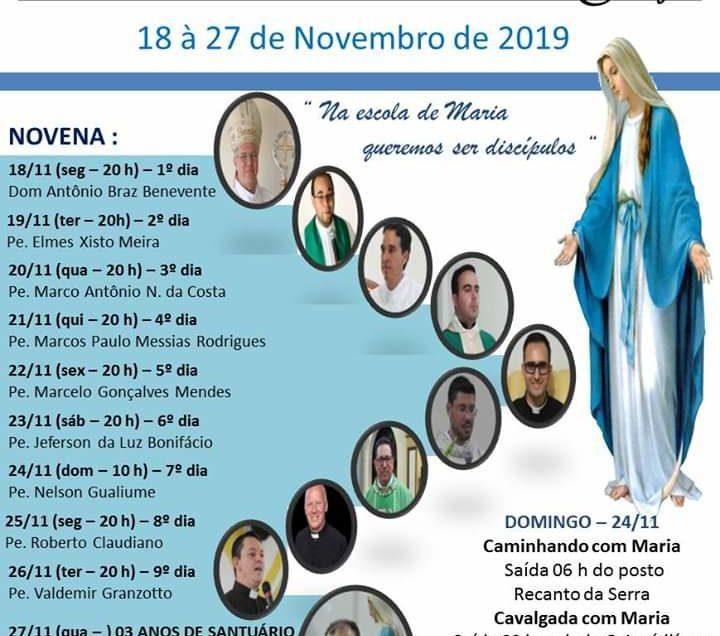 18 à 27 de Novembro Novena Nossa Senhora das Graças em Santo Antônio da Platina