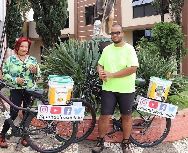 Casal que pedala desde Florianópolis inicia trilha pela Rota do Rosário