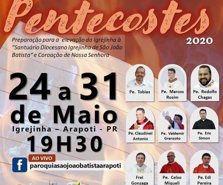 24/05/2020 a 31/05/2020-Novena Pentecostes na Igrejinha São João Batista